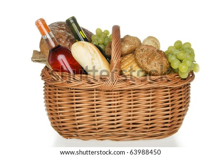 Dinner in picnic basket,on white background.