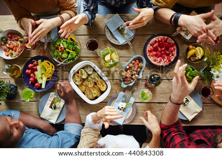 Dinner of friends - stock photo