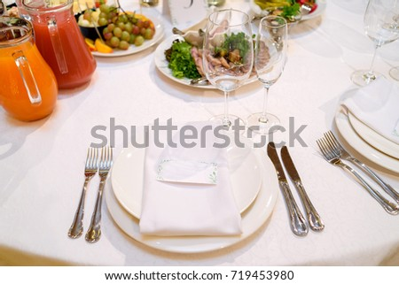 Dinner place setting with blank guest card on white table napkin at wedding reception copy & Dinner Place Setting Blank Guest Card Stock Photo u0026 Image (Royalty ...