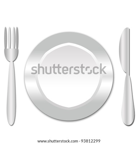 dinner plate , knife and fork