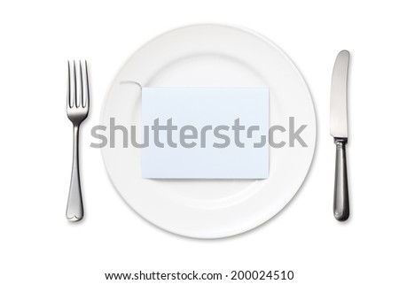Dinner Plate with Blank Card. Knife and Fork