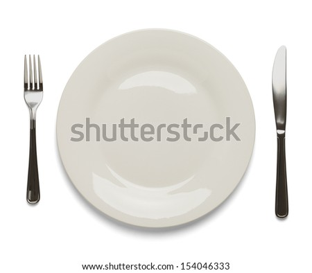 Dinner Plate with Silverware Isolated on White Background.