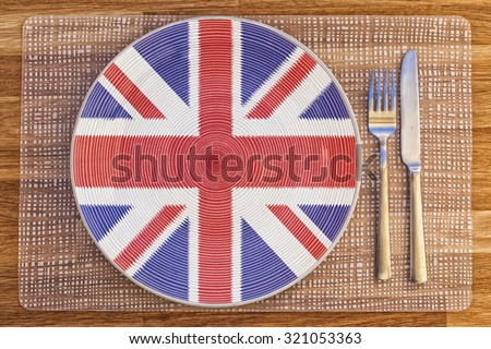 Dinner plate with the flag of Britain on it for your international food and drink concepts.