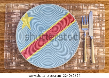 Dinner plate with the flag of Congo Kinshasa on it for your international food and drink concepts.