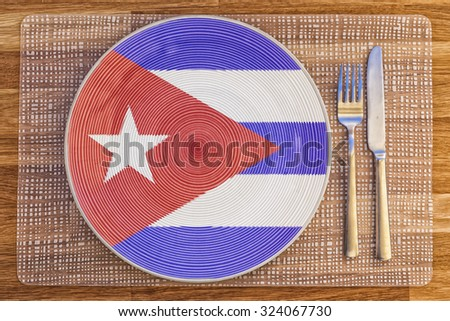 Dinner plate with the flag of Cuba on it for your international food and drink concepts.