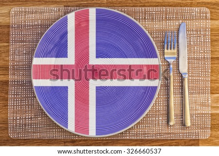 Dinner plate with the flag of Iceland on it for your international food and drink concepts.