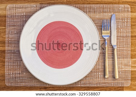 Dinner plate with the flag of Japan on it for your international food and drink concepts.