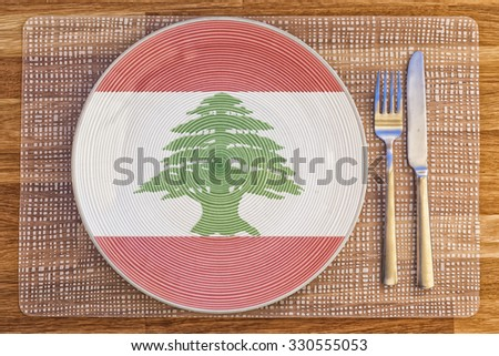 Dinner plate with the flag of Lebanon on it for your international food and drink concepts.