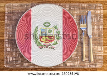 Dinner plate with the flag of Peru on it for your international food and drink concepts.