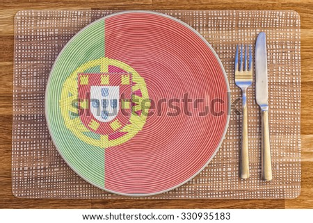 Dinner plate with the flag of Portugal on it for your international food and drink concepts.