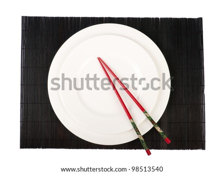 dinner plates and set isolated on white - stock photo