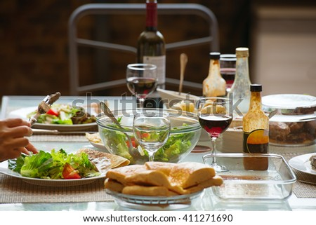 Dinner served for for peoples - stock photo