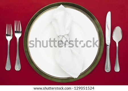 Dinner setting in a top view image - stock photo