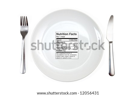 Dinner setting with 0 calories nutrition label instead of a meal. Concept for dieting, nutrition, anorexia - stock photo