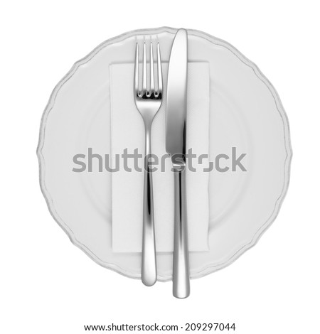 Dinner setting with fork and knife, white dinner napkin, and white china plate. - stock photo