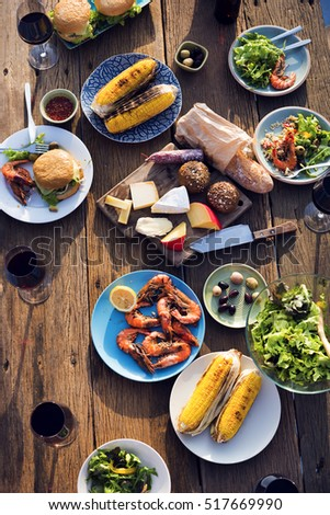 Dinner Table Food Outdoors Concept