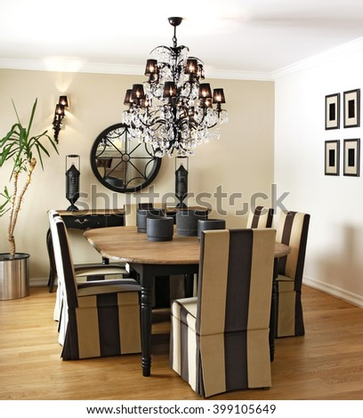 Dinner Table Dining Room Big Modern Stock Photo Royalty Free - Dinner table chandelier