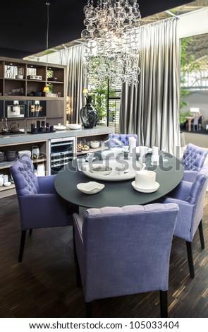 dinner  table in living room - stock photo