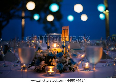 dinner table on the beach at Thailand - stock photo