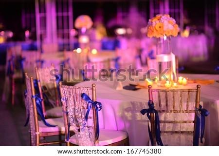Dinner wedding set up - stock photo