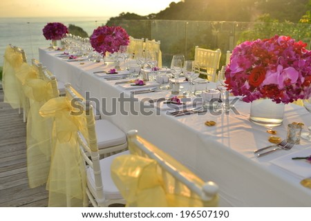 dinner wedding set up - stock photo