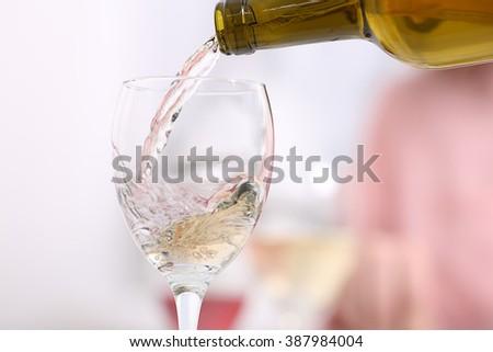Dinner with wine, closeup - stock photo