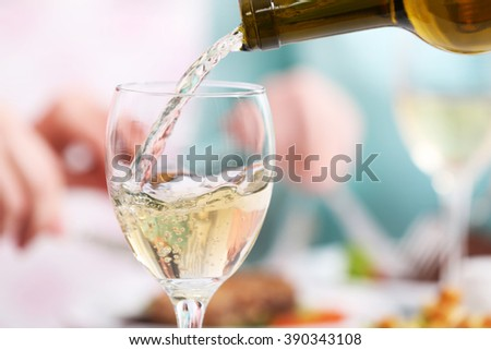 Dinner with wine, closeup - stock photo