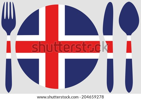 Dinnerware with the flag of Iceland