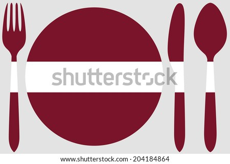 Dinnerware with the flag of Latvia