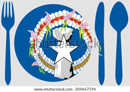 Dinnerware with the flag of Marianas