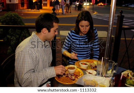 Dinning Alfresco on Mexican Food - stock photo