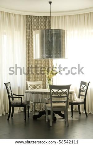 dinning place near the window - stock photo