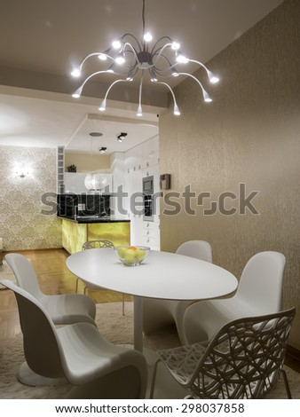 Dinning room and kitchen - stock photo