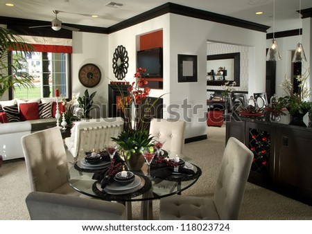 Dinning Room Home Interior. Architecture Stock Images, Photos of Living room, Dining Room, Bathroom, Kitchen, Bed room, Office, Interior photography. - stock photo