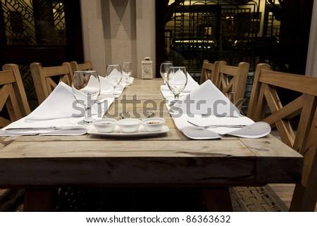 dinning set up in a modern restaurant - stock photo