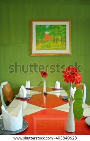 dinning table set - stock photo