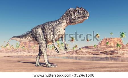 Dinosaur Allosaurus Computer generated 3D illustration - stock photo