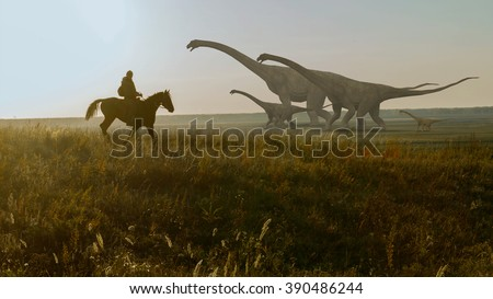 Dinosaur and people. Prehistoric Jungle, landscape, valley with Dinosaurs. - stock photo