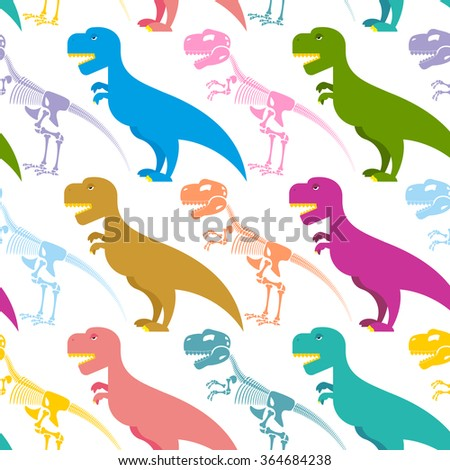 Dinosaur and skeleton seamless pattern. Tyrannosaurus t-Rex and bones background. Colorful predator. Ancient Creeper. Skeleton of an ancient monster. Texture for baby tissue. - stock photo