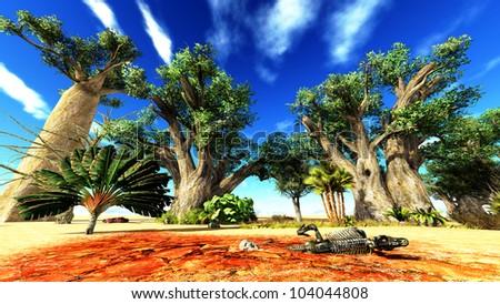 Dinosaur bones lying on African desert - stock photo