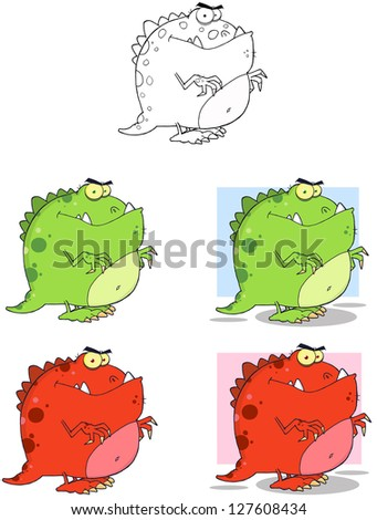 Dinosaur Cartoon Mascot Characters- Collection. Raster Illustration.Vector Version Also Available In Portfolio. - stock photo