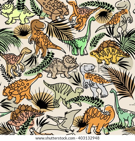 Dinosaur. Funny Dinosaur seamless pattern. Funny Dinosaur and tropical forest plant background. Dinosaur animal sketch illustration background. Cute Dinosaur Pattern - stock photo