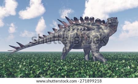 Dinosaur Huayangosaurus Computer generated 3D illustration - stock photo