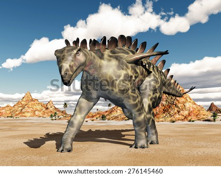 Dinosaur Huayangosaurus Computer generated 3D illustration - stock photo