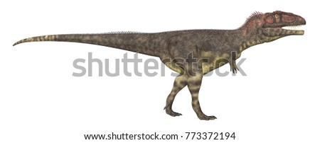 Dinosaur Mapusaurus isolated on white background Computer generated 3D illustration