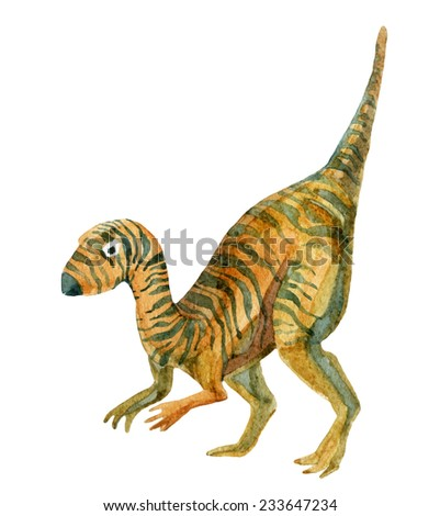 Dinosaur Ornithopod. Watercolor illustration - stock photo