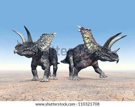 Dinosaur Pentaceratops Computer generated 3D illustration - stock photo