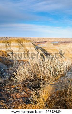 Dinosaur Provincial Park Alberta Badlands Canada - stock photo