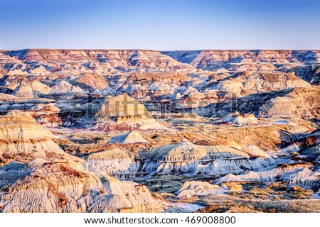Dinosaur Provincial Park  landscape  noted for the beauty of its badlands landscape and as a major fossil site, Alberta,Canada