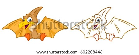 dinosaur pterodactyl coloring page cartoon illustrations stock